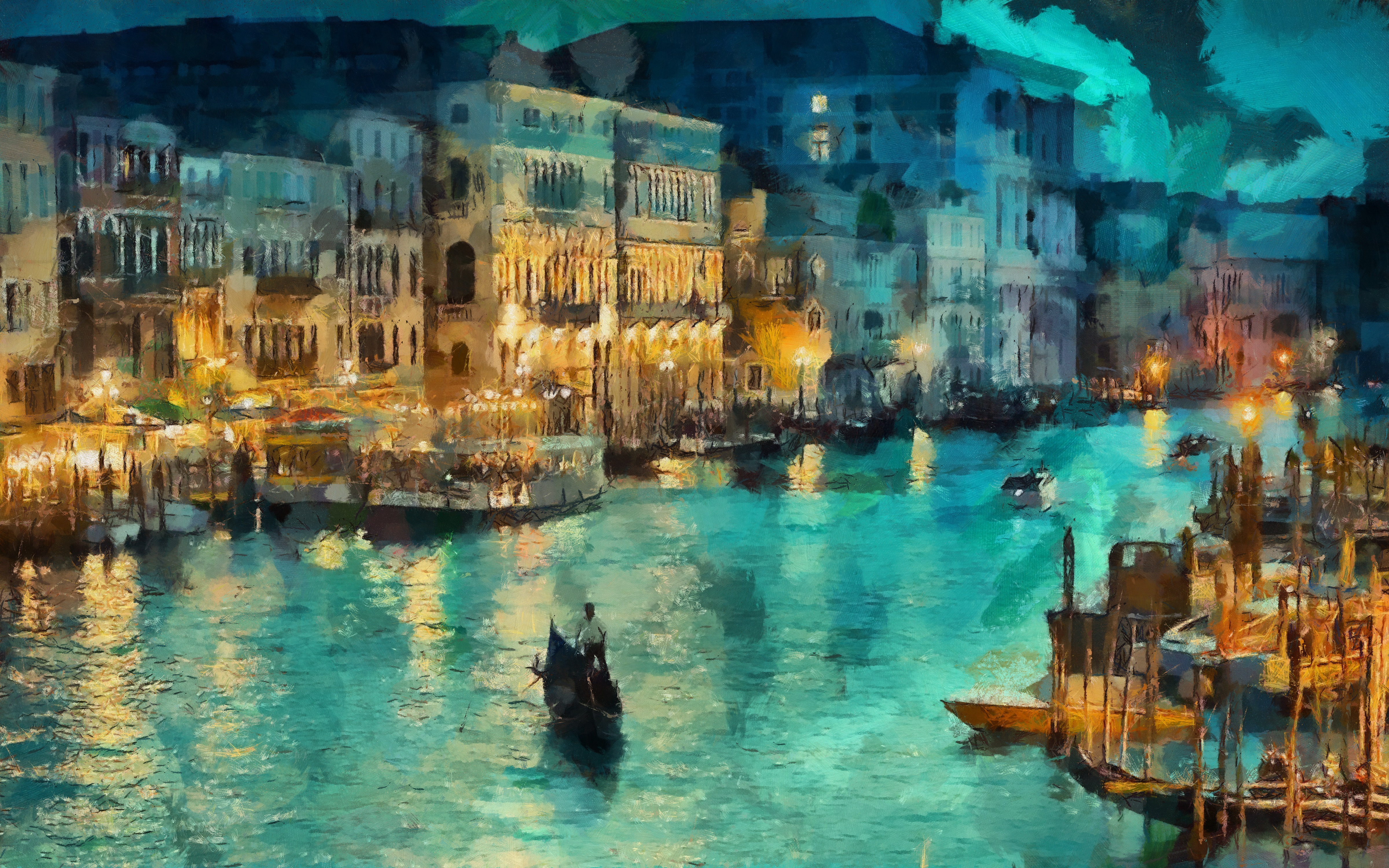 523576 noch veneciya ogni kanal svet lodki italiya doma a 4800x3000 www.gde fon.com