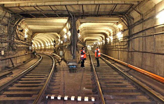 Minsk metro tunnel between lines