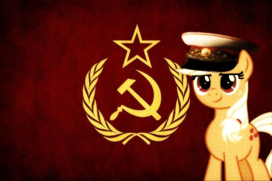 313565  safe applejack hat flag communism soviet soviet union hammer and sickle