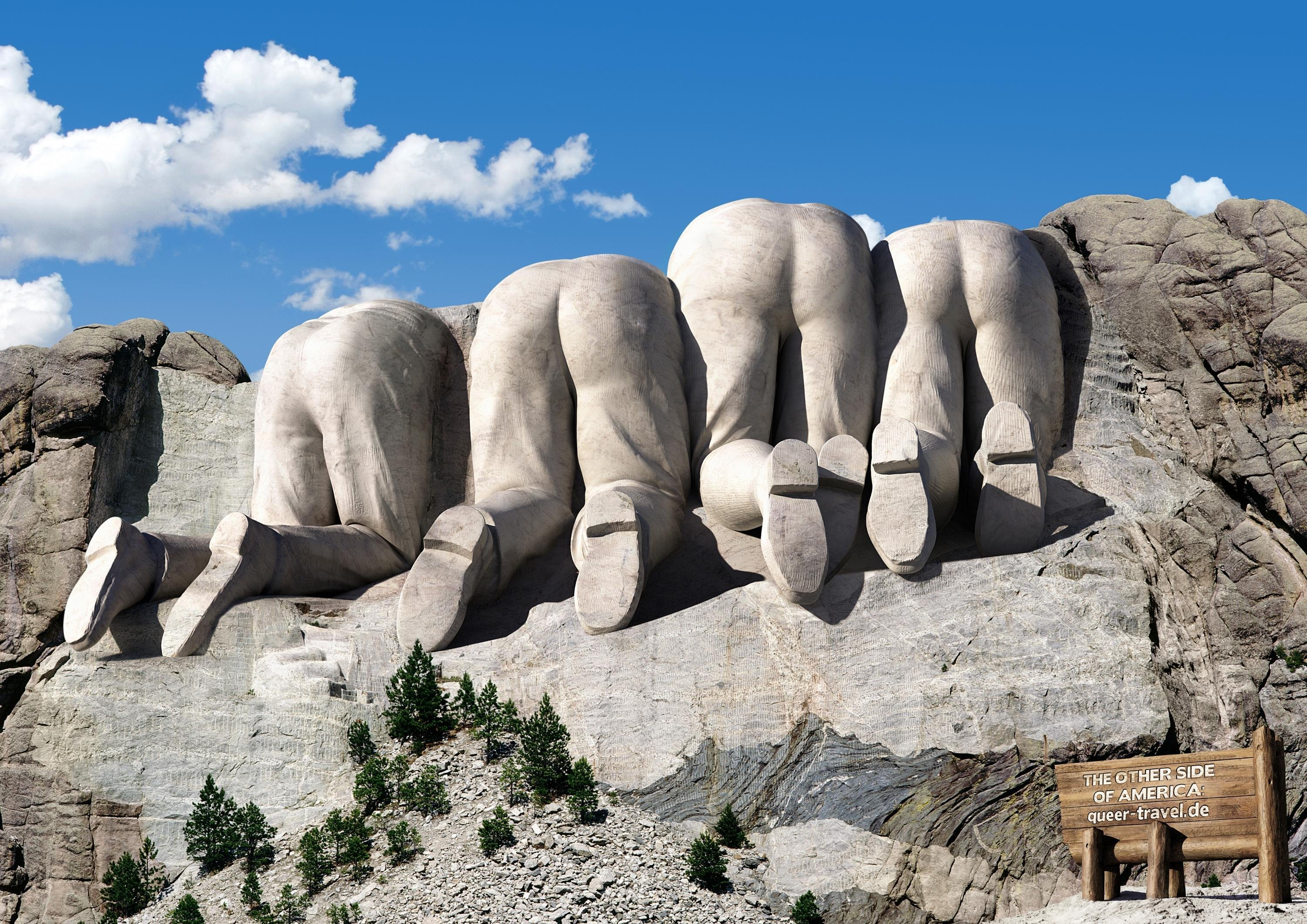 Queer travelde gay lesbian online travel agency mount rushmore from behind original 90212