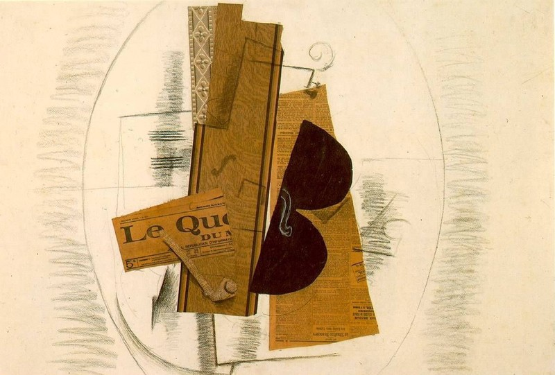 Жорж Брак. Скрипка, трубка и газета Le Quotidien. 1913 год. Источник: Georges Braque, Centre national d'art et de culture Georges-Pompidou