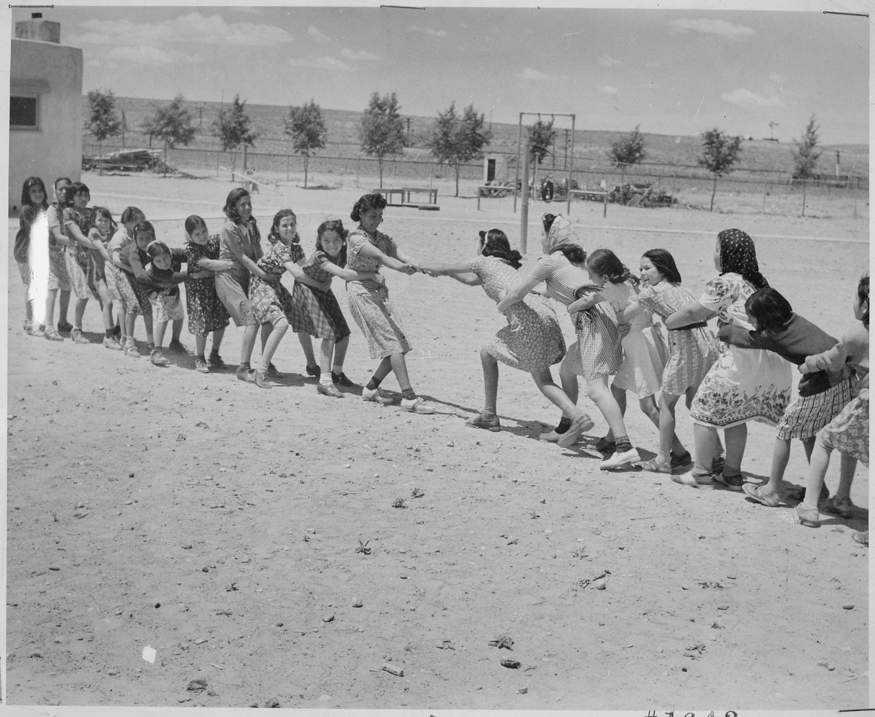 Girls at isleta day school in a tug of war  albuquerque  new mexico  1940   nara   519167